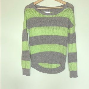 Justice Striped Green and Grey Knitted Sweater